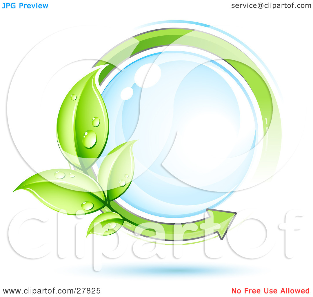Clipart Illustration of a Reflective Blue Orb Circled By An Arrow.