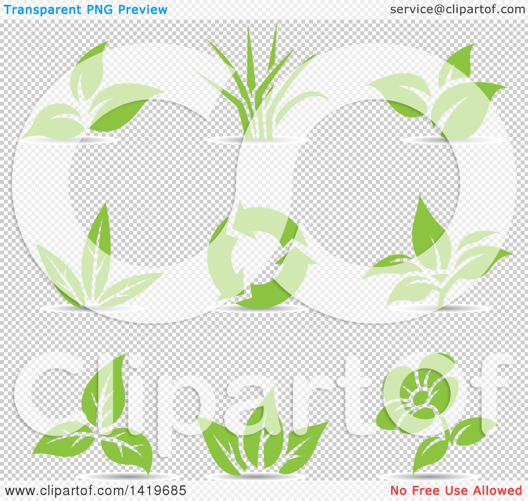 Clipart of Plant Leaves, a Flower and Recycle Arrows in Green.