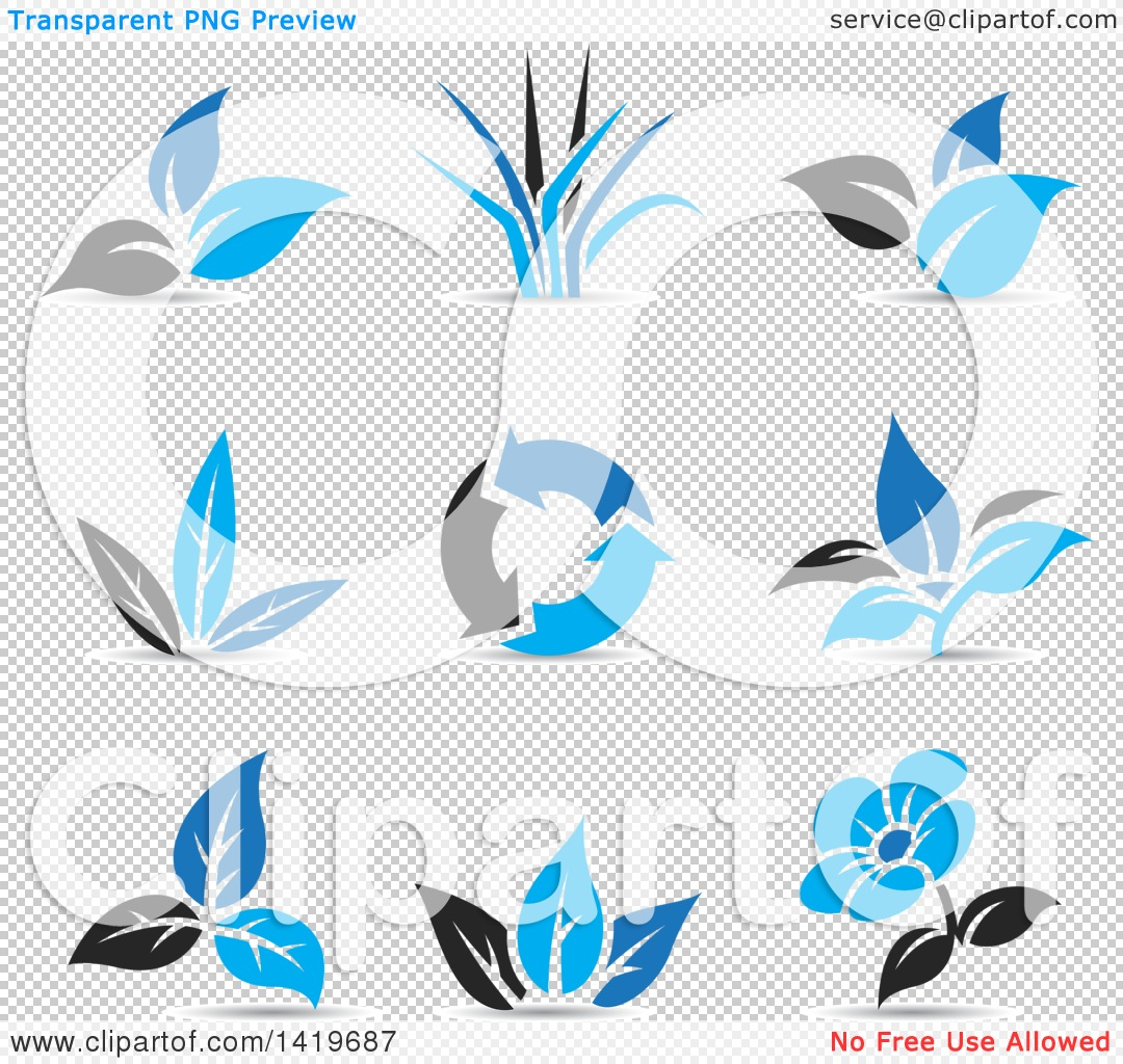 Clipart of Plant Leaves, a Flower and Recycle Arrows in Black and.