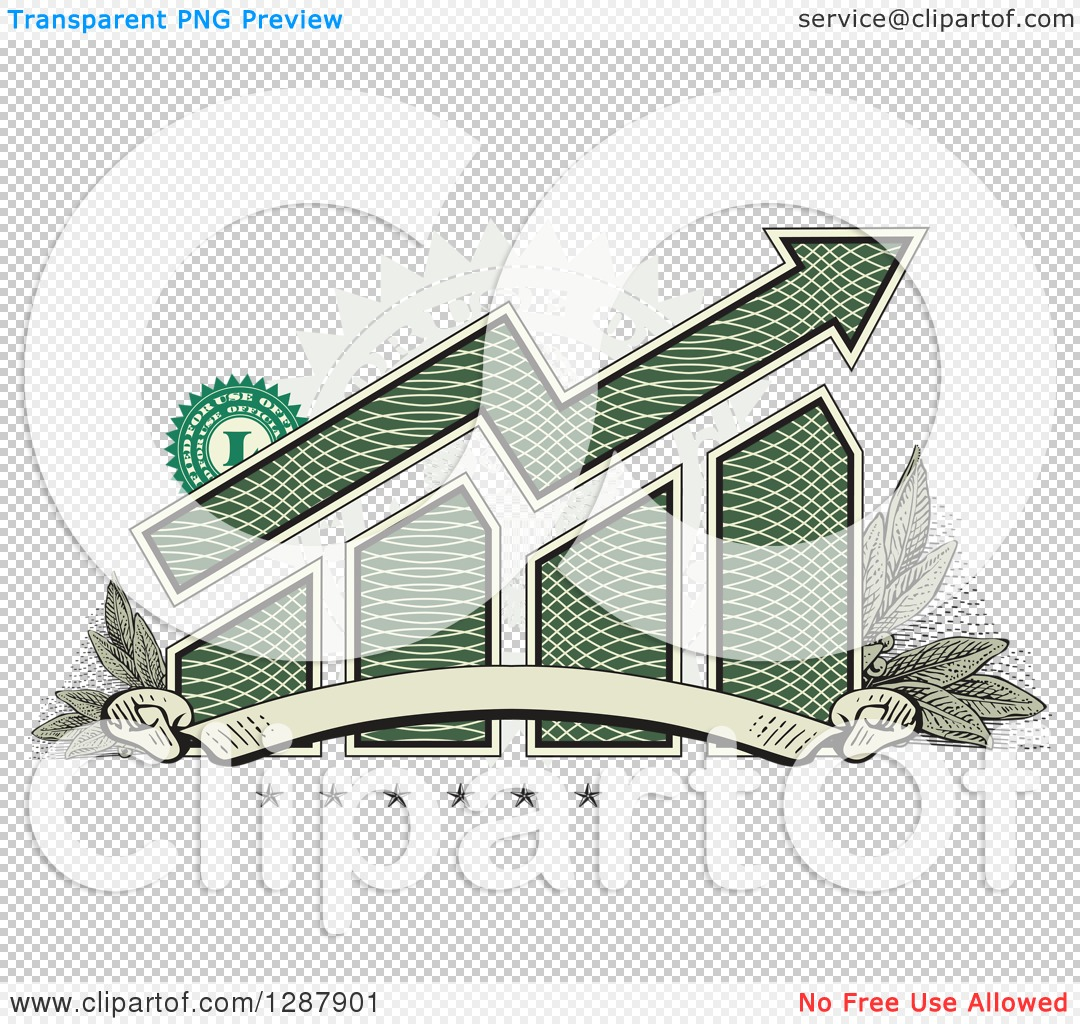 Clipart of an American Dollar Themed Bar Graph and Growth Arrow.