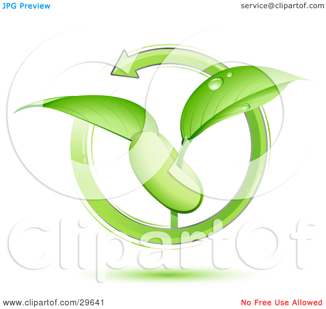 Clipart Illustration of a Green Arrow Circling Around A Green.