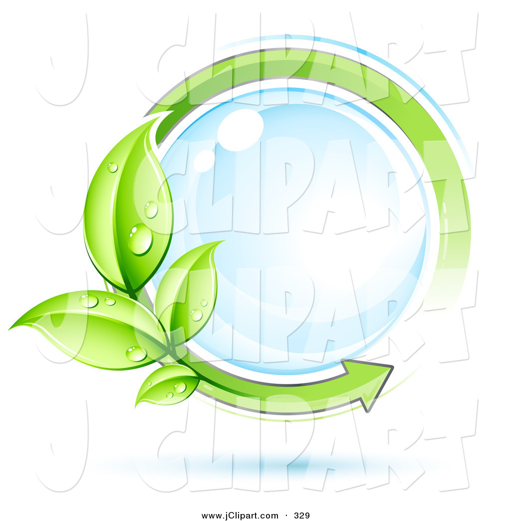 Vector Clip Art of a Reflective Water Droplet Circled by an Arrow.