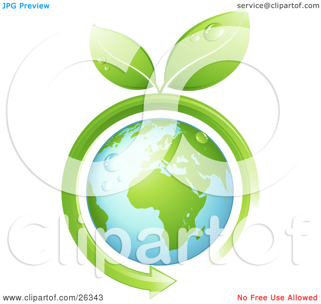 Clipart Illustration of Wet Green Leaves Sprouting From A Green.