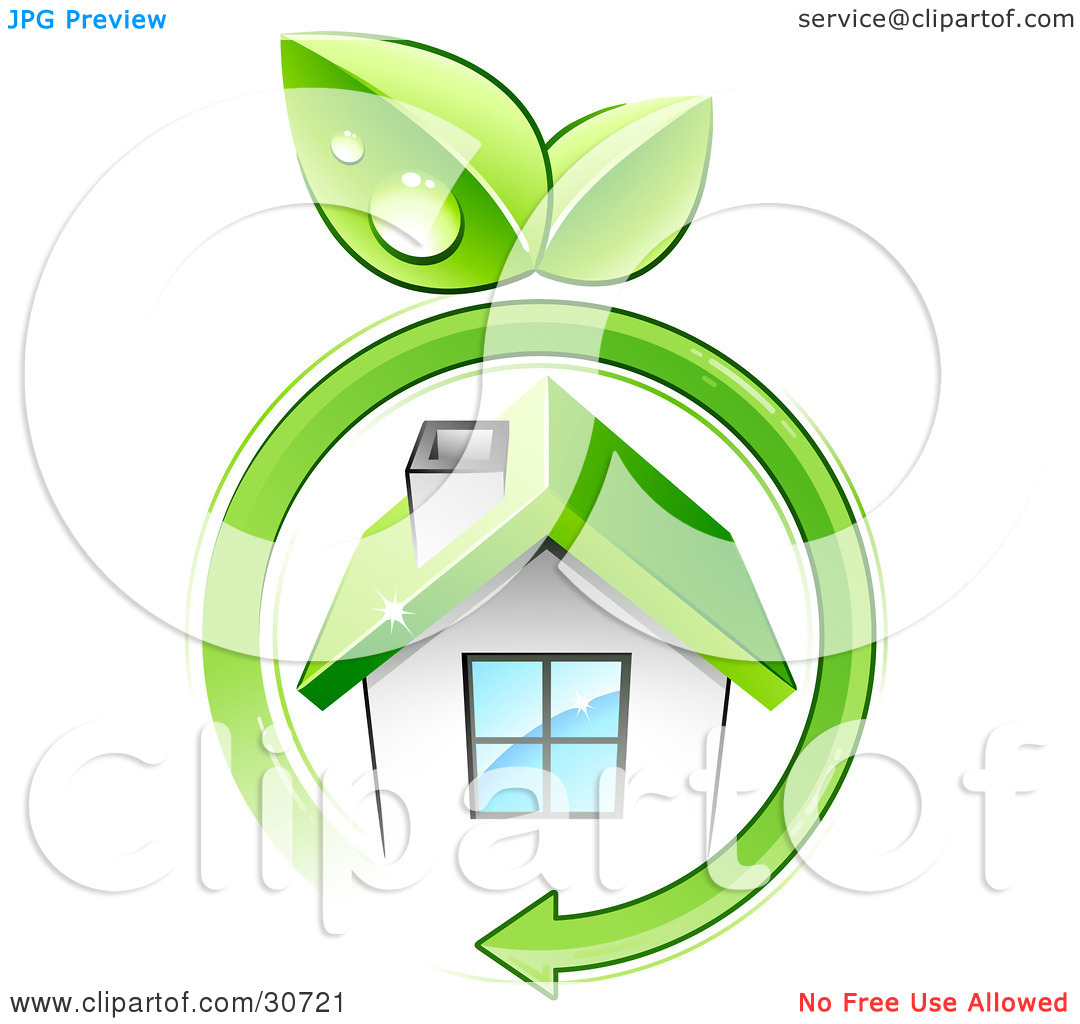 Clipart Illustration of a Green Arrow With Dewy Leaves Circling A.