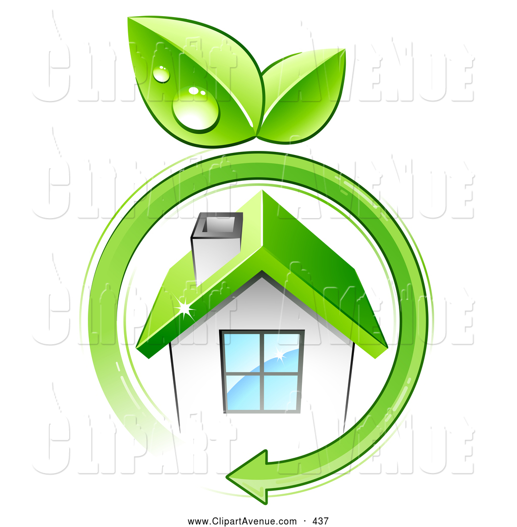 Avenue Clipart of a Green Arrow with Dewy Leaves Circling a Small.