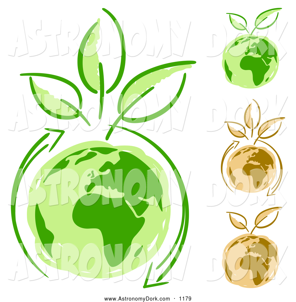 Clip Art of Eco Friendly Arrows Circling Green Planet Earth and.