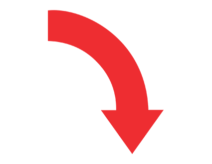 Red Curved Right Down Arrow PNG.