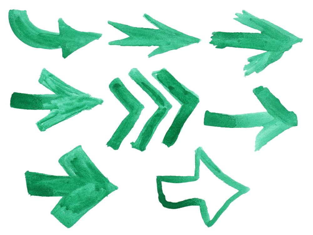 8 Green Watercolor Arrow (PNG Transparent).