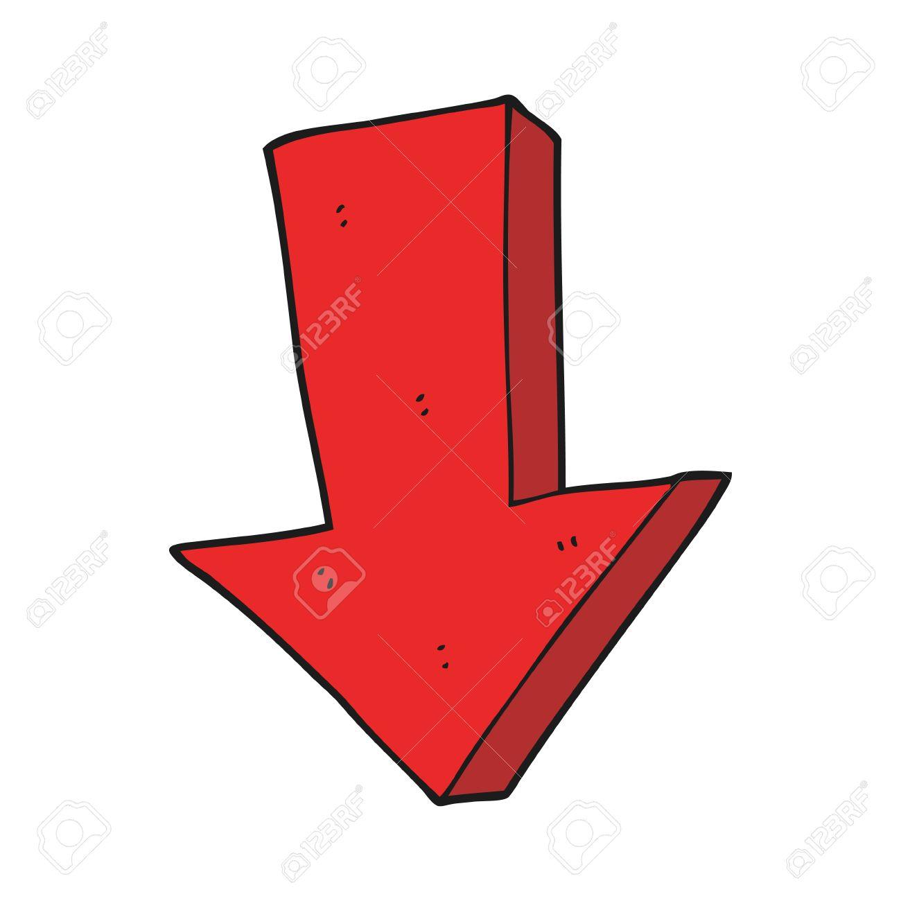 freehand drawn cartoon arrow pointing down.