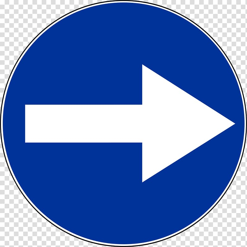 Traffic sign Arrow Mandatory sign, right arrow transparent.