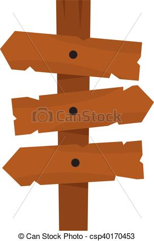 Wooden direction arrow sign icon.