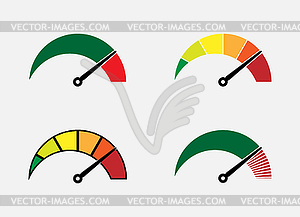 Set of abstract color scale and arrow symbols.