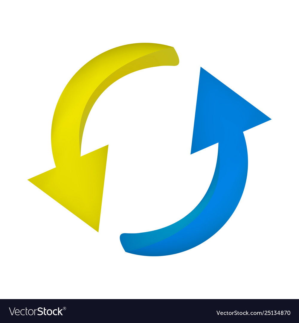 Arrow symbol yellow blue icon clipart cycle.