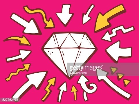 Vector illustration of arrows point to icon of diamond.