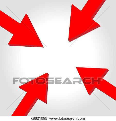 Vector arrow to center Clipart.