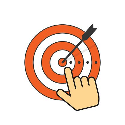 Abstract target icon and arrow in aim center, hand pointer.