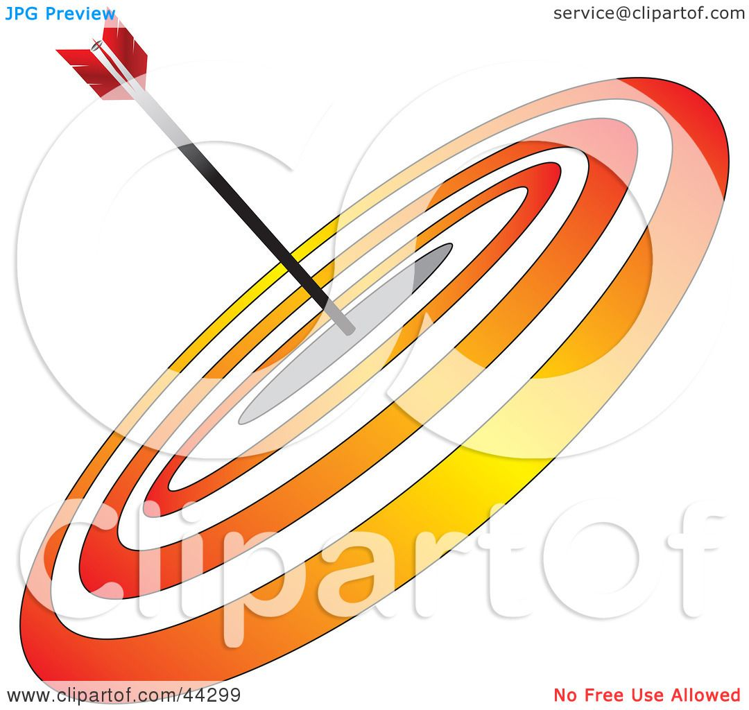 Clipart Illustration of an Arrow In The Center Of A Red And.