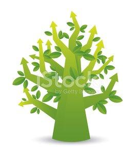 Green arrow tree Clipart Image.