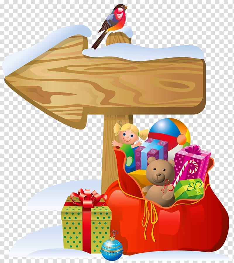 Bird perching on wooden arrow signage , Santa Claus.