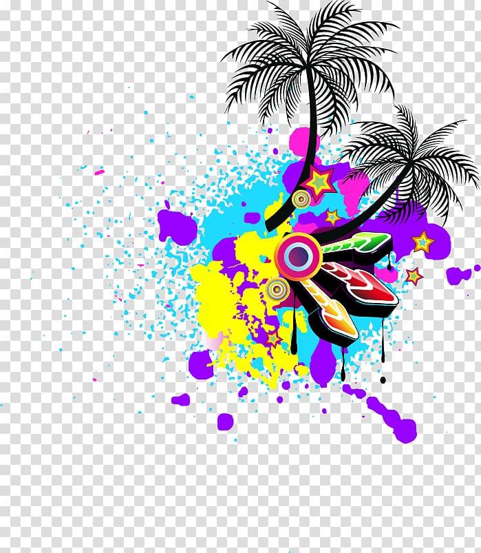 Two coconut trees illustration, Disco Giants Music Album.