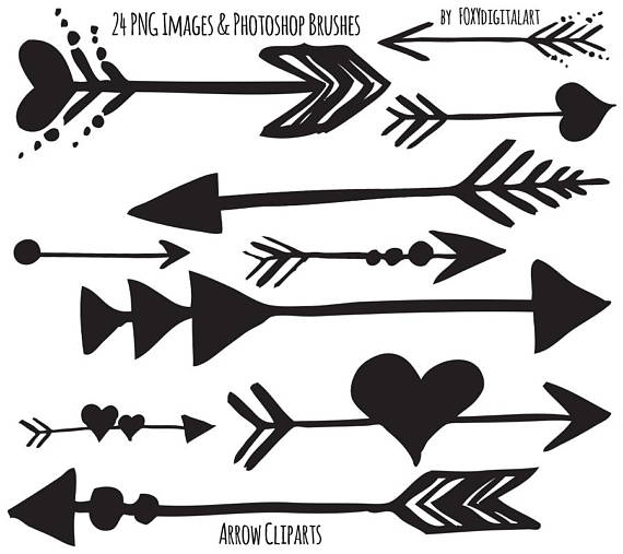 Tribal Arrow Clipart, Hand Drawn Arrow Clipart, Photoshop Brush.