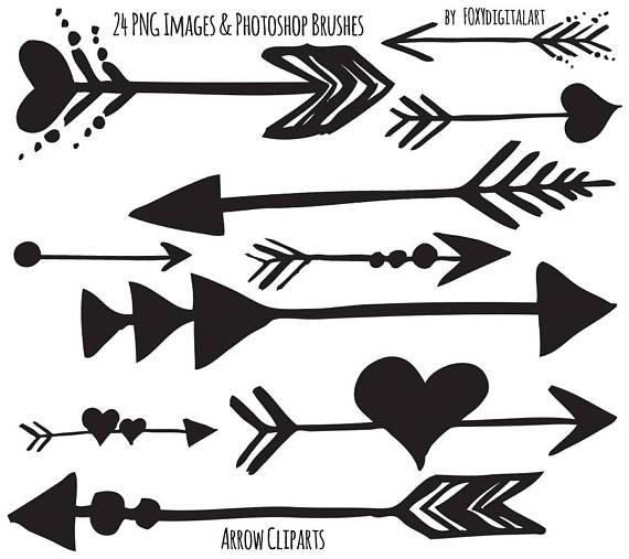 Tribal Arrow Clipart, Hand Drawn Arrow Clipart, Photoshop Brush.