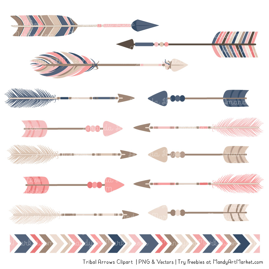 Navy & Blush Tribal Arrows Clipart.