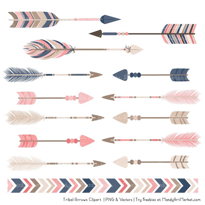 Navy & Blush Tribal Arrows Clipart.
