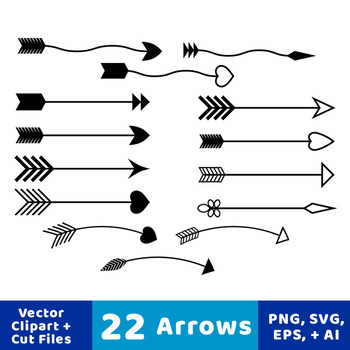 22 Arrows Clipart, Tribal Arrow Clip Art, Archery, Boho, Indian, Native  American.