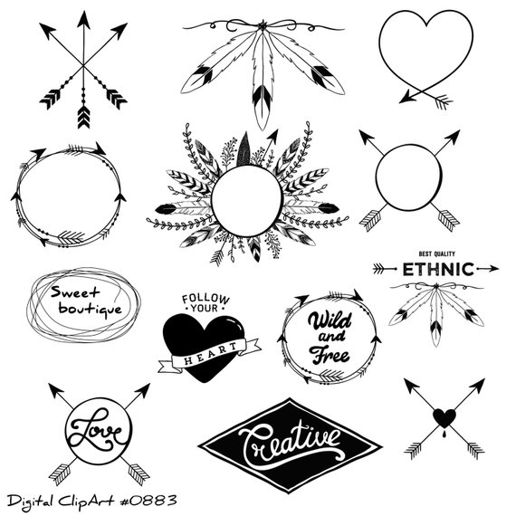 Tribal clipart, tribal clip art, Digital Clipart, Arrow Clipart.