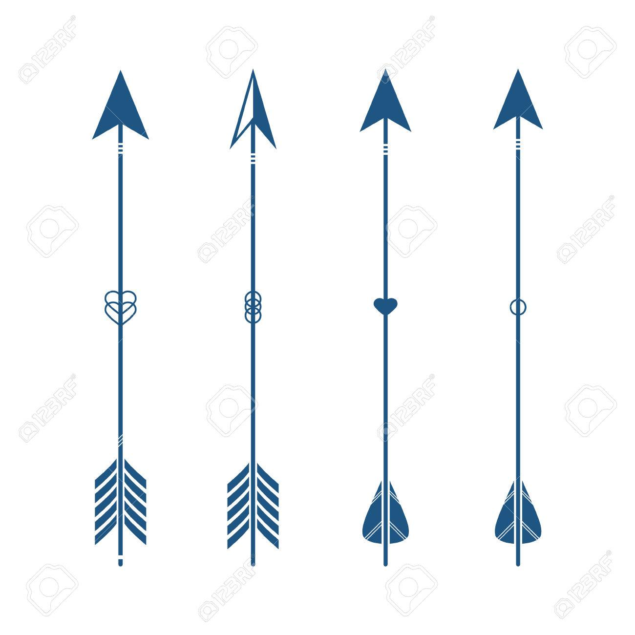 Collection of decorative tribal arrows. Hipster arrows. Indian...