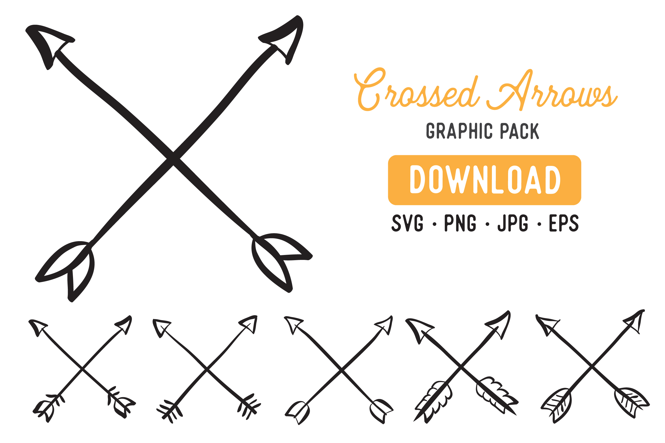 Crossed Arrow Vector Clipart Pack.