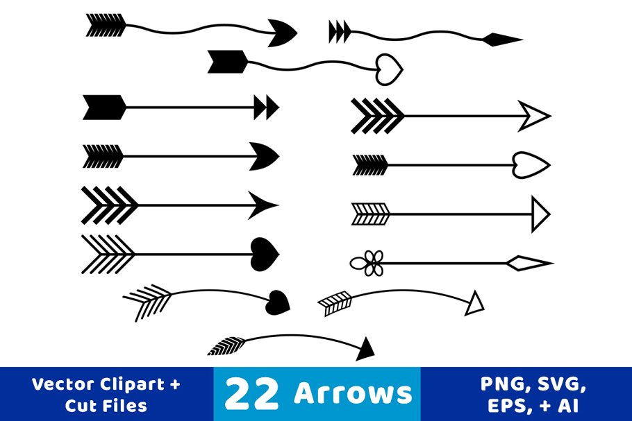 22 Arrows Vector Clipart.