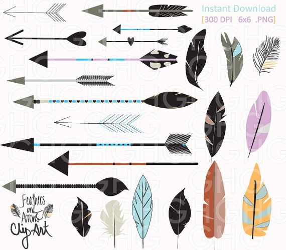 Digital ClipArt Tribal Arrows and Feathers by.