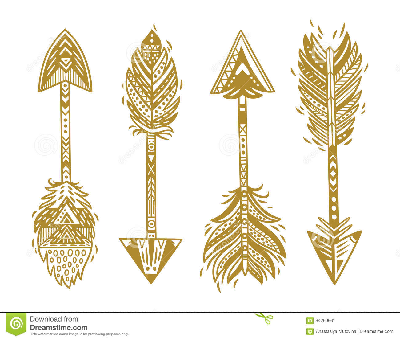 Indian Ethnic Arrows In Gold. Vector Illustration Stock.