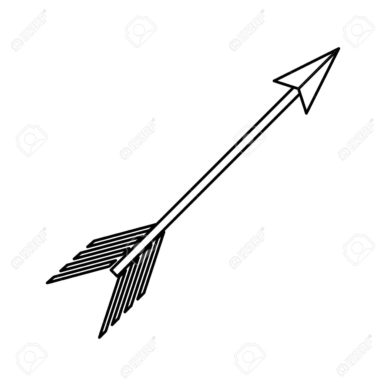 Arrow with feather.