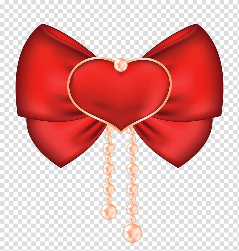 Red and yellow bow illustration, Valentine\\\'s Day Heart Bow.