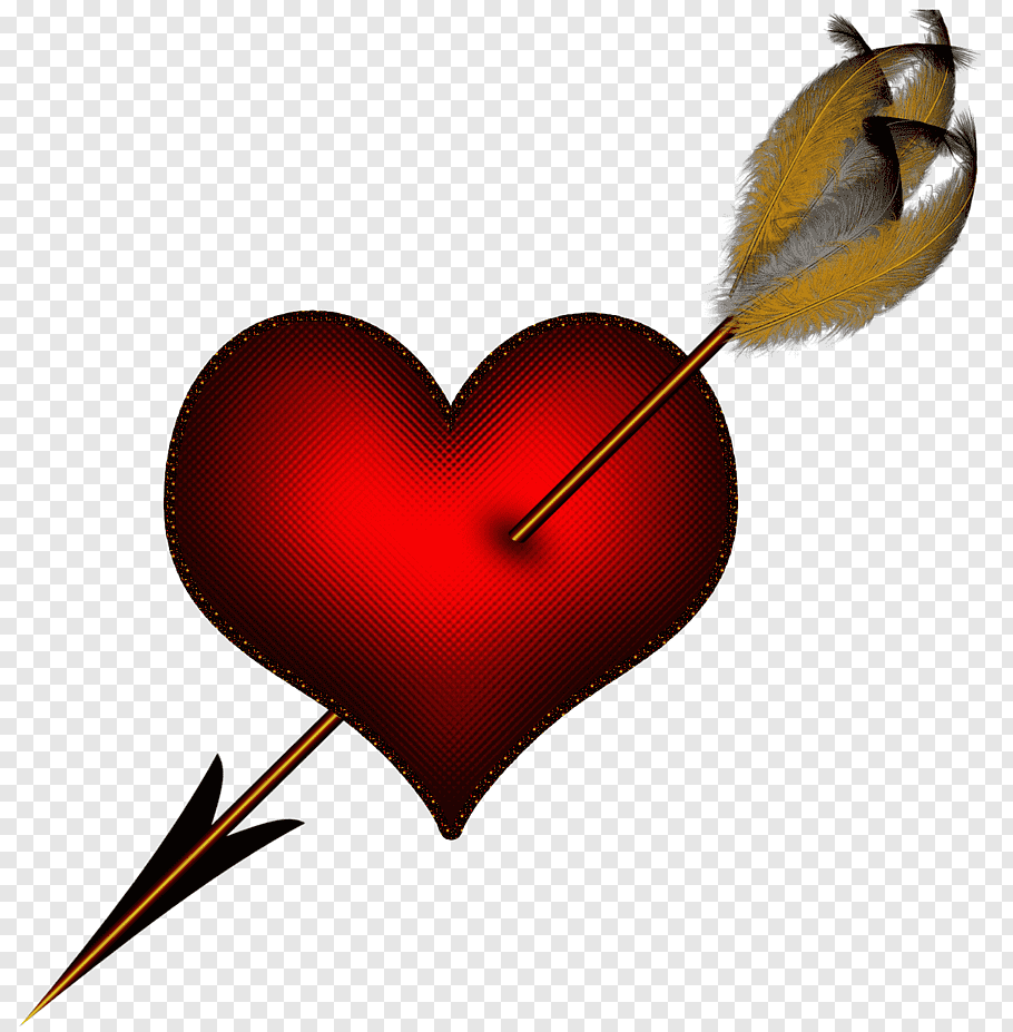 Heart illustration, Hearts and arrows, Red Heart with Arrow.