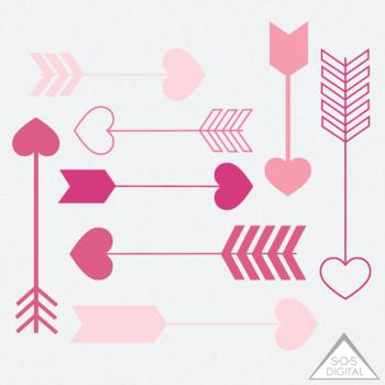 Pink Heart Arrow Clipart, Clipart Heart Arrows, Valentine Arrows, PNG,  Digital.