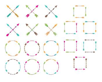 18 Colorful Arrows Clipart, Arrow Wreath, Crossed Arrows, Tribal Arrow, Boho.