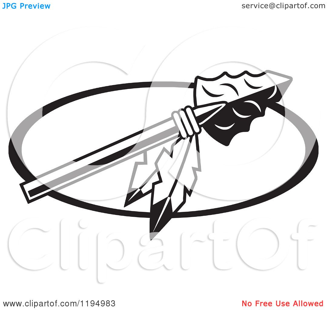 Clipart of a Black and White Arrowhead with Feathers for Warriors.