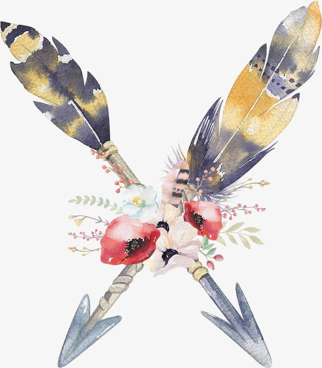 Feather flowers arrow PNG clipart.