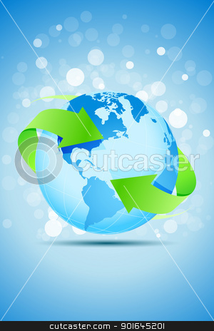 Planet Earth with Green Arrows stock vector.
