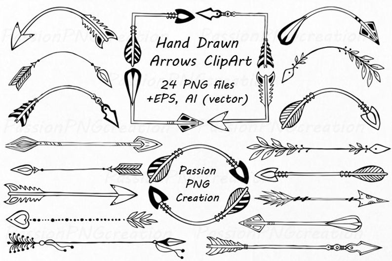 Hand Drawn Arrows Clipart, Doodle arrow clip art, Tribal Arrow Clipart,  digital clipart, PNG, EPS, AI, vector, Personal and Commercial Use.
