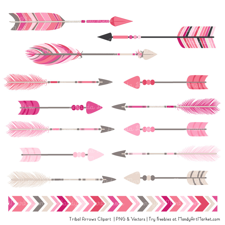 Pink Tribal Arrows Clipart.