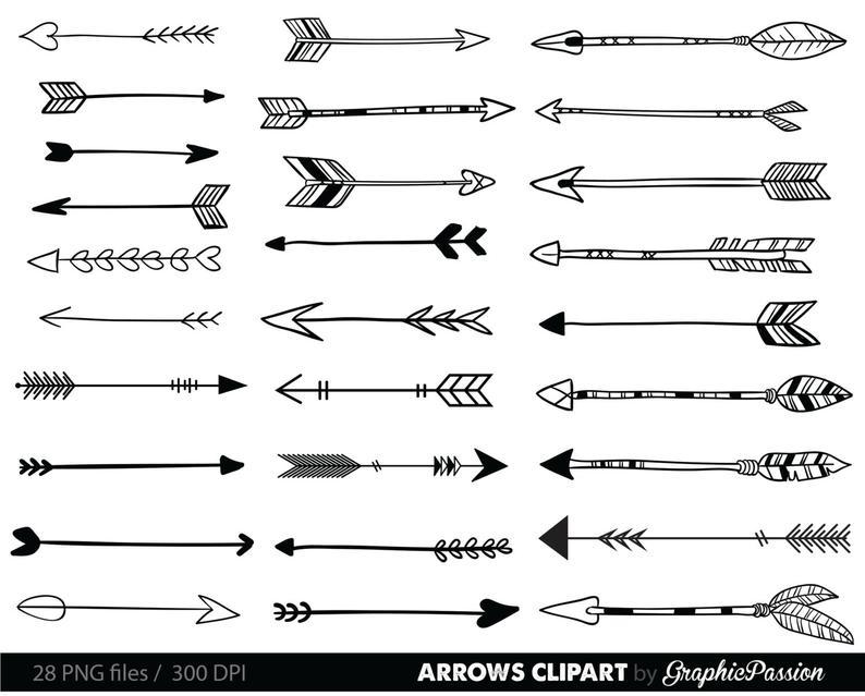 Arrows clip art, tribal arrow clipart, archery hand drawn arrows, doodle  drawing tribal digital INSTANT DOWNLOAD.