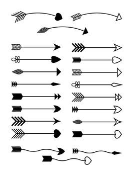 22 Arrows Clipart, Tribal Arrow Clip Art, Archery, Boho, Indian, Native  American.