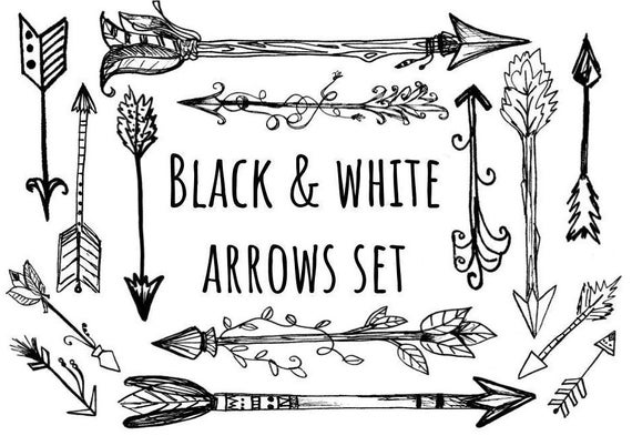 Hand Drawn Black and White Arrows Clipart, woodland arrows clip art, hand  drawn tribal arrows, arrow clipart, commercial use clip art.