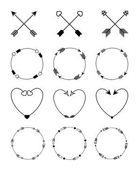 12 Arrows Clipart.