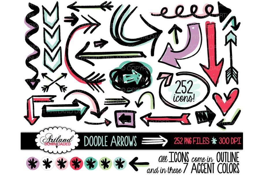Doodle Arrows Clipart Value Pack ~ Illustrations ~ Creative.